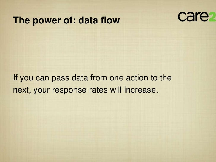 The power of: data flowIf you can pass data from one action to thenext, your response rates will increase.