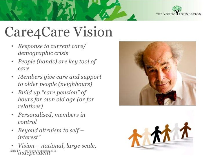 Care4Care Vision • Response to current care/       demographic crisis • People (hands) are key tool of       care • Member...