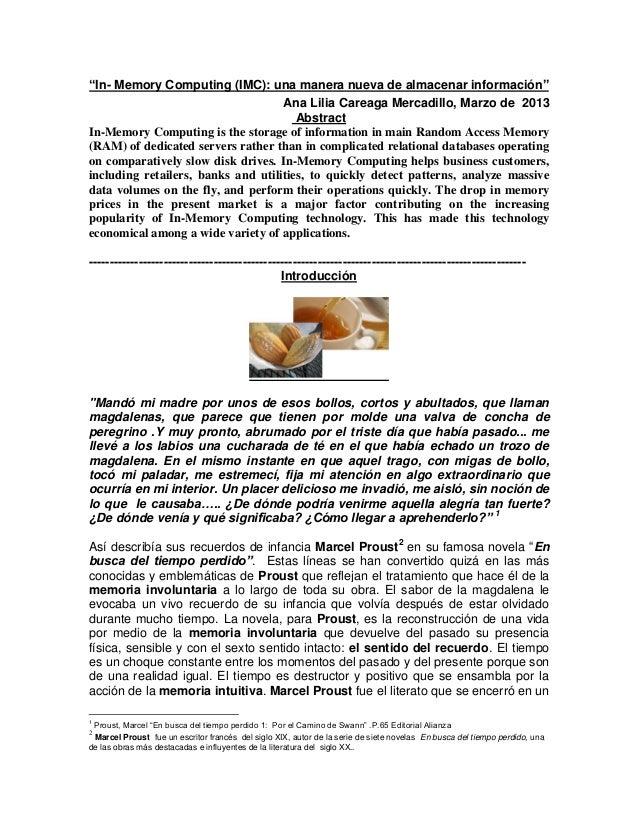 """""""In- Memory Computing (IMC): una manera nueva de almacenar información""""Ana Lilia Careaga Mercadillo, Marzo de 2013Abstract..."""