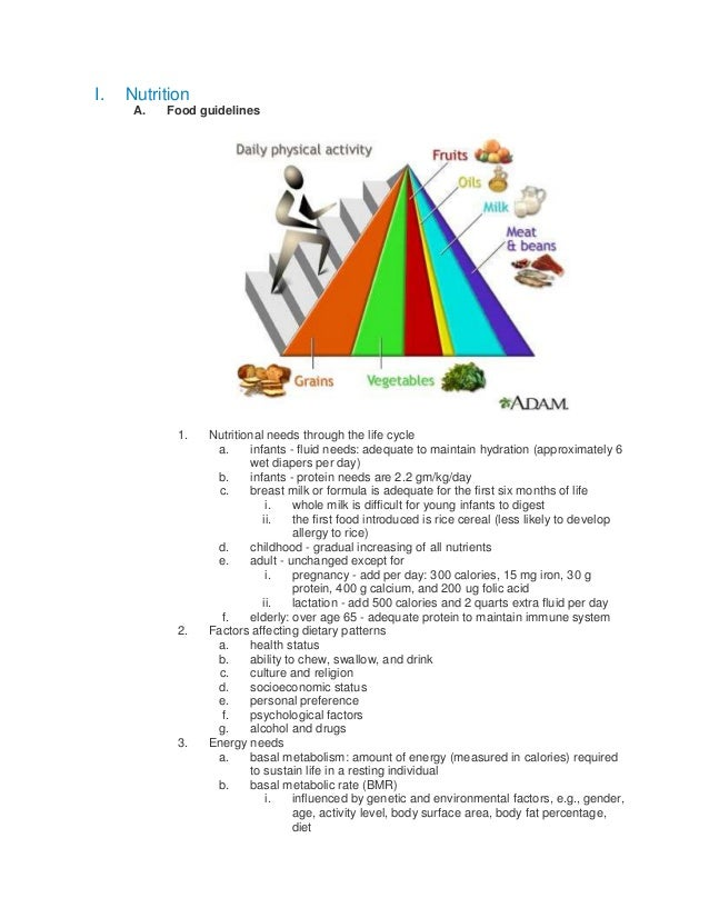 I.   Nutrition      A.   Food guidelines            1.   Nutritional needs through the life cycle                  a.     ...
