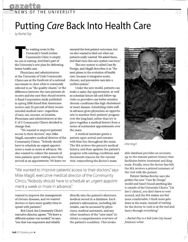 Care by design 1 continuum article