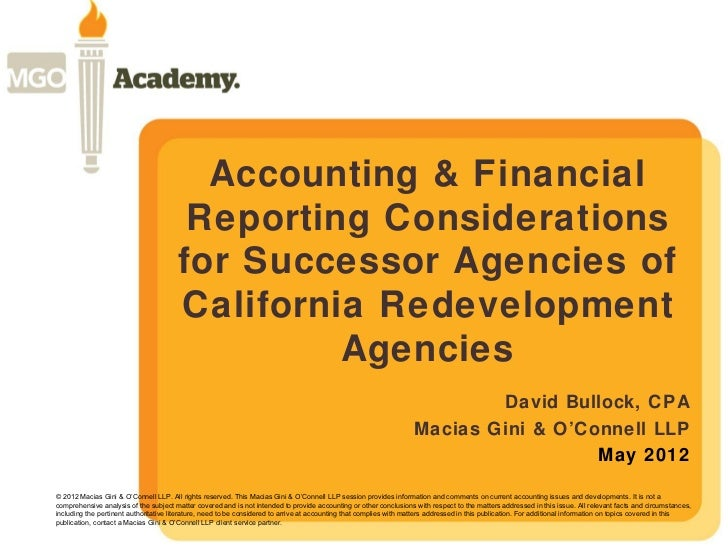 Accounting & Financial                                        Reporting Considerations                                    ...