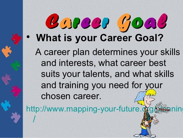 Career Goal• What is your Career Goal?  A career plan determines your skills   and interests, what career best   suits you...