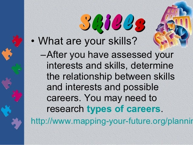 Skills• What are your skills?  –After you have assessed your   interests and skills, determine   the relationship between ...