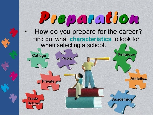 Preparation•      How do you prepare for the career?      Find out what characteristics to look for         when selecting...
