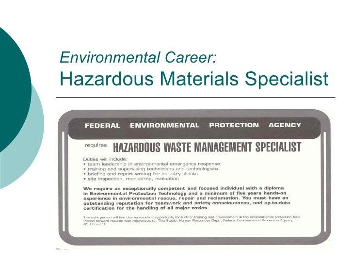 Environmental Career:  Hazardous Materials Specialist