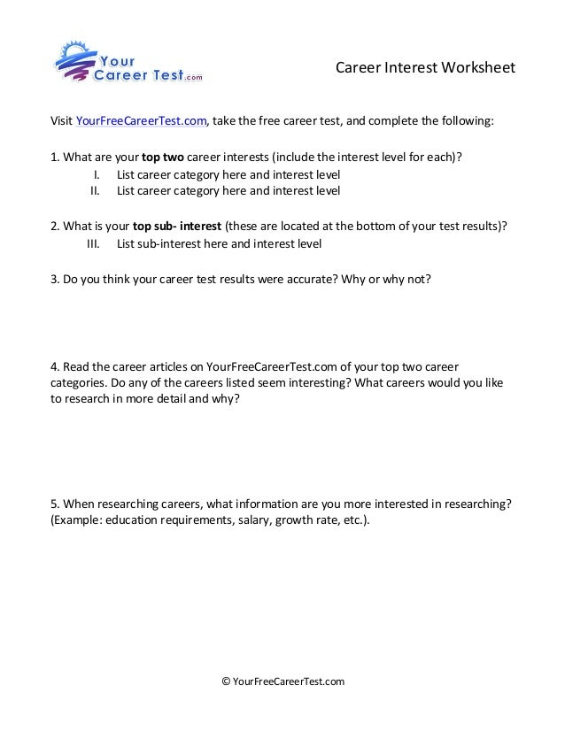 Career Interest Worksheet ...  Free Career Test