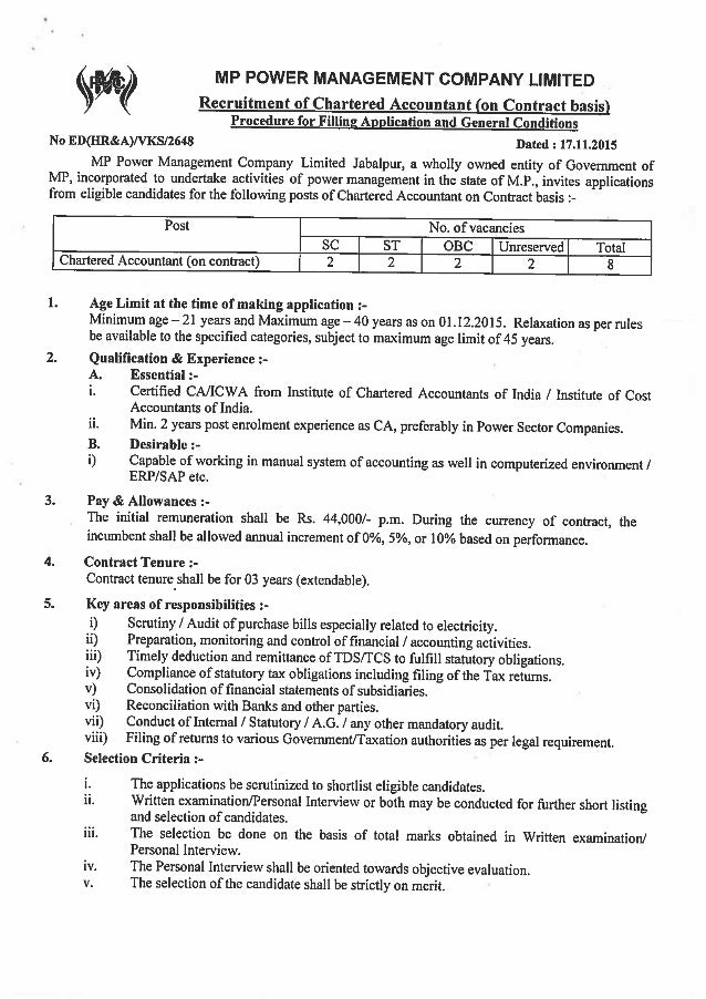 Recruitment of Chartered Accountant on Contract basis  Procedure for Filling Application and General Conditions  No ED(HR&...