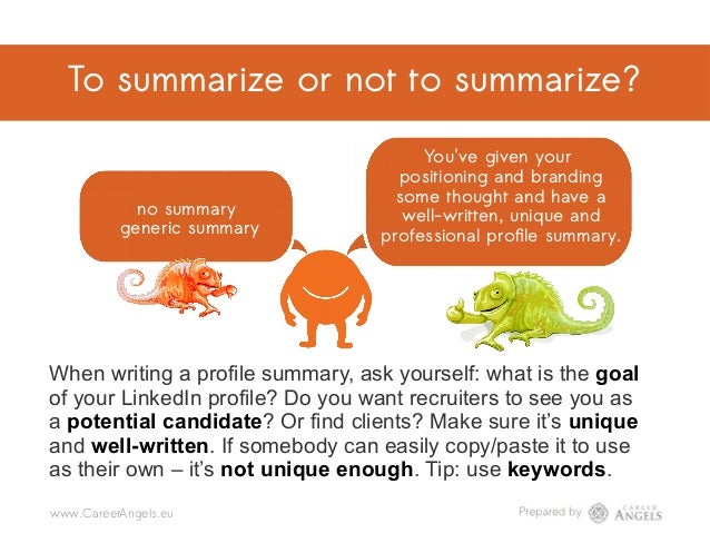 To summarize or not to summarize? no summary generic summary You've given your positioning and branding some thought and h...