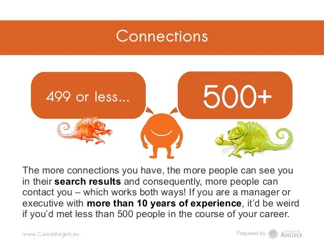 Connections 499 or less... 500+ @CareerAngels.eu @Career_Angels_Team@Career Angels LinkedIn mistake #38 The more connectio...