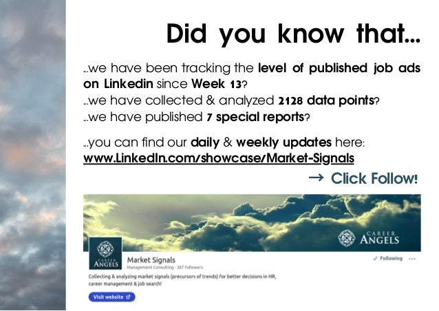 ...we have been tracking the level of published job ads on Linkedin since Week 13? ...we have collected & analyzed 2128 da...
