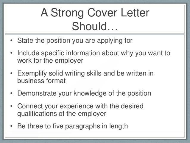 what should be in cover letters