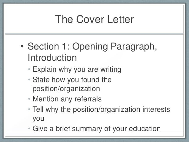 ... 9. The Cover Letteru2022 ...  What To Put On A Cover Letter For A Resume