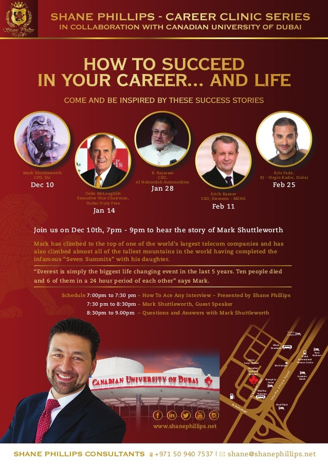 SHANE PHILLIPS - CAREER CLINIC SERIES IN COLLABORATION WITH CANADIAN UNIVERSITY OF DUBAI  HOW TO SUCCEED IN YOUR CAREER......