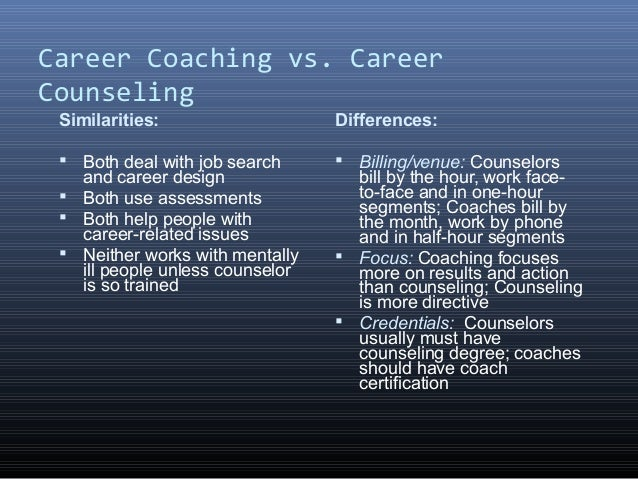 Career Coaching vs Career Counseling