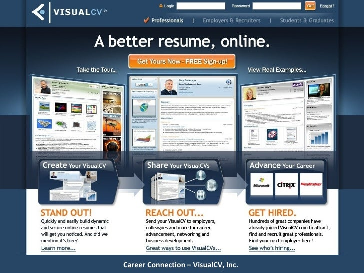 Main page here Career Connection – VisualCV, Inc.