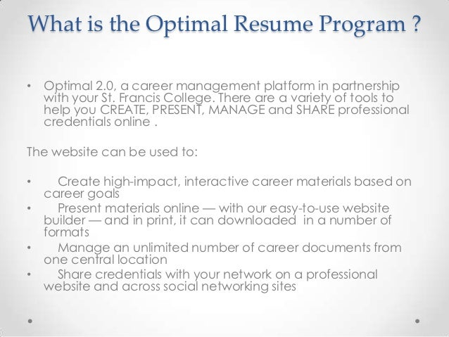 ... Development Center; 5. What Is The Optimal Resume ...  My Optimal Resume