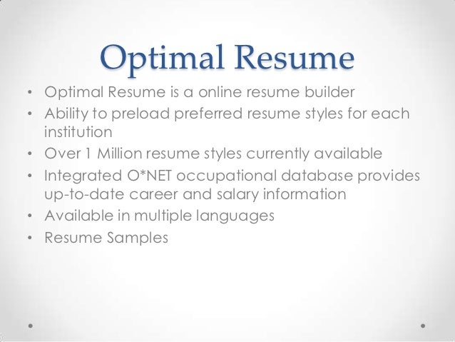 Rasmussen Optimal Resume. Career Development Center Freshman Initiatives  Optimal Resume