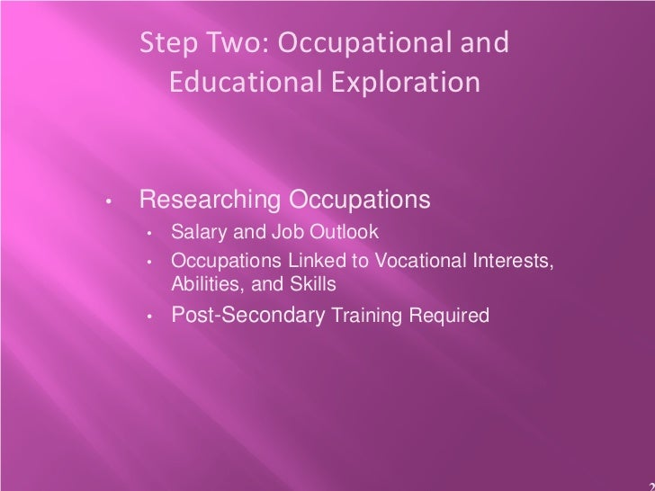 Step Two: Occupational and      Educational Exploration•   Researching Occupations    •   Salary and Job Outlook    •   Oc...