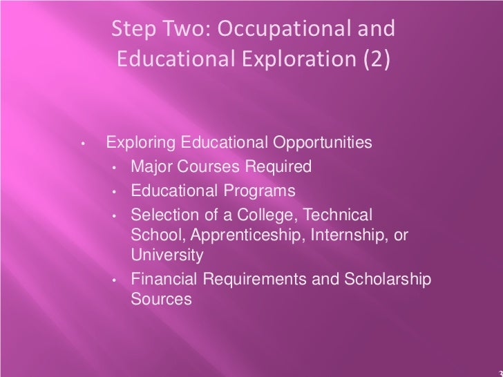 Step Two: Occupational and    Educational Exploration (2)•   Exploring Educational Opportunities     • Major Courses Requi...
