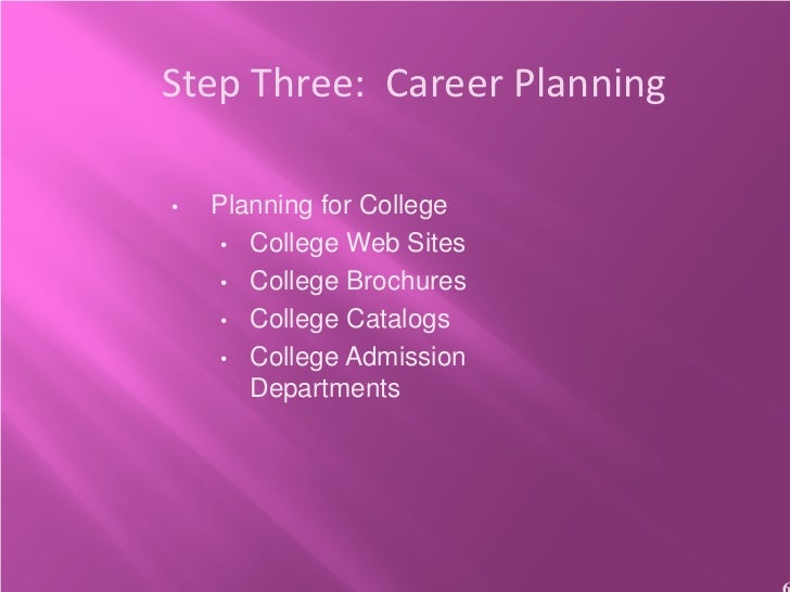 Step Three: Career Planning•   Planning for College     • College Web Sites     • College Brochures     • College Catalogs...