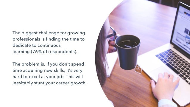 The biggest challenge for growing professionals is finding the time to dedicate to continuous learning(76% of respondents...