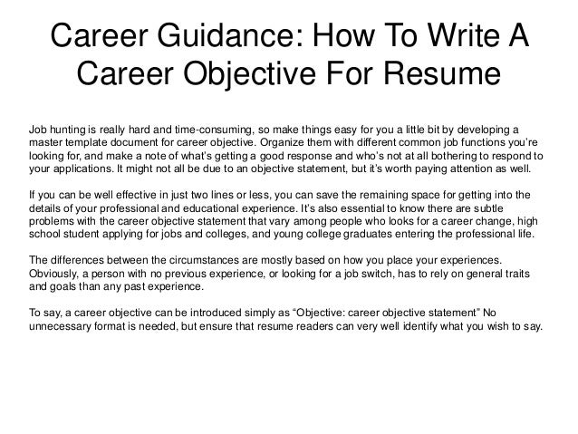 career guidance how to write a career objective fo