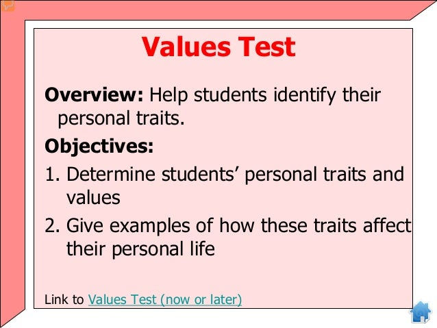 values test overview  help students