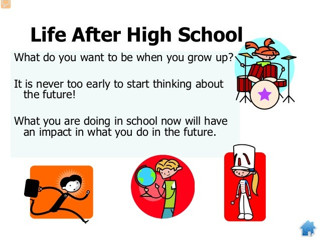 Life After High School What do you want to be when you grow up? It is never too early to start thinking about the future! ...