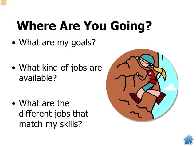 Where Are You Going? • What are my goals? • What kind of jobs are available? • What are the different jobs that match my s...