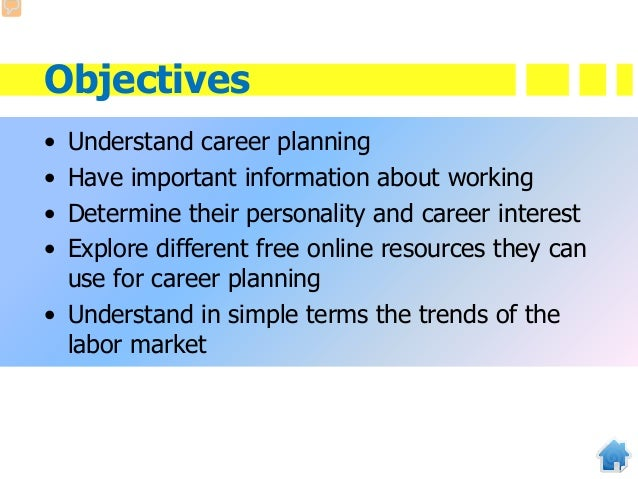 Objectives • Understand career planning • Have important information about working • Determine their personality and caree...