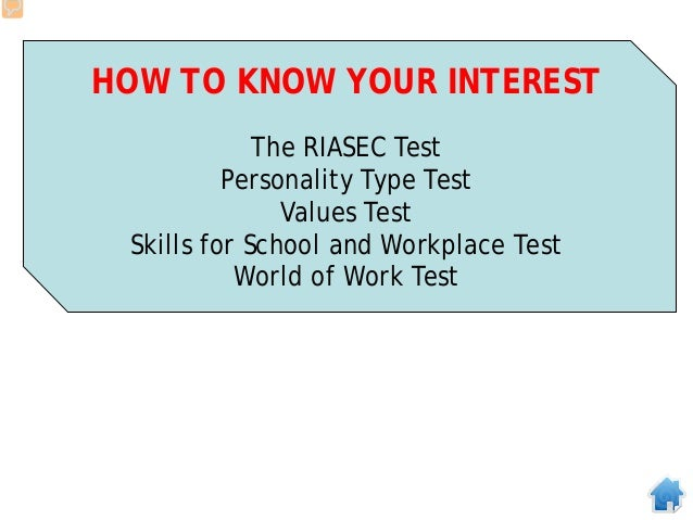 HOW TO KNOW YOUR INTEREST The RIASEC Test Personality Type Test Values Test Skills for School and Workplace Test World of ...