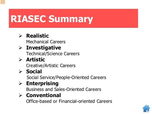 RIASEC Summary  Realistic Mechanical Careers  Investigative Technical/Science Careers  Artistic Creative/Artistic Caree...