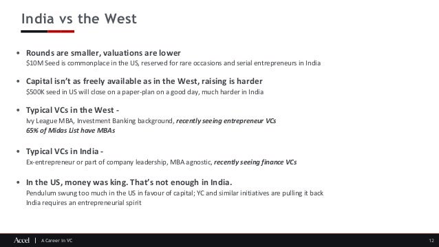 A Career in VC India vs the West 12 • Rounds are smaller, valuations are lower $10M Seed is commonplace in the US, reserve...