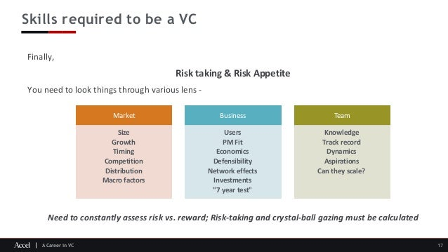 A Career in VC Skills required to be a VC 17 Finally, Risk taking & Risk Appetite You need to look things through various ...