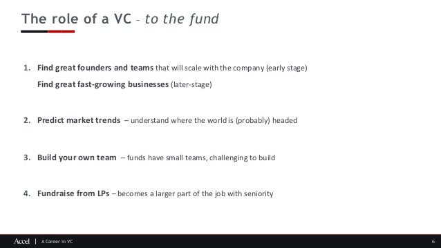 A Career in VC The role of a VC – to the fund 6 1. Find great founders and teams that will scale with the company (early s...