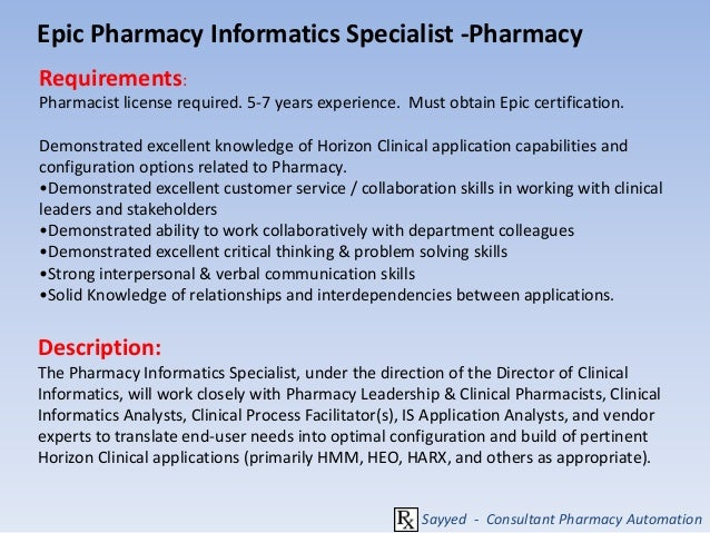 Career In Pharmacy Information Roles And Responsibilities - Clinical informatics job description