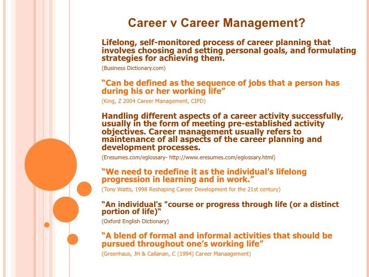 the process of career planning The career planning is a process to assist the employees to achieve a better match between their career goals and the opportunities available in the organisation advertisements: the career planning as a process involves the following steps.