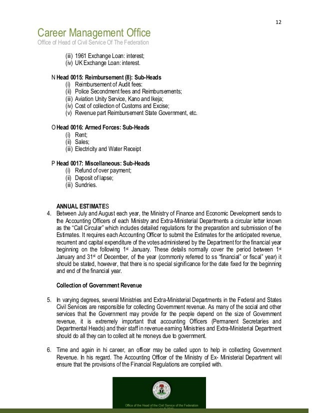 12 Career Management Office Office of Head of Civil Service Of The Federation (iii) 1961 Exchange Loan: interest; (iv) UK ...