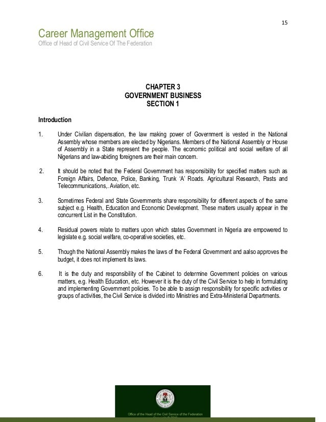 15 Career Management Office Office of Head of Civil Service Of The Federation CHAPTER 3 GOVERNMENT BUSINESS SECTION 1 Intr...