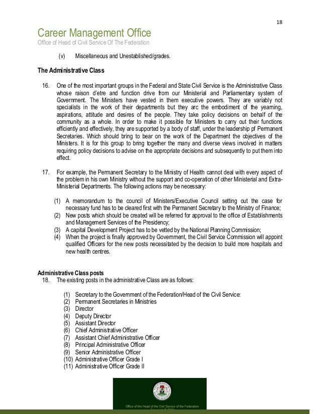 18 Career Management Office Office of Head of Civil Service Of The Federation (v) Miscellaneous and Unestablished/grades. ...