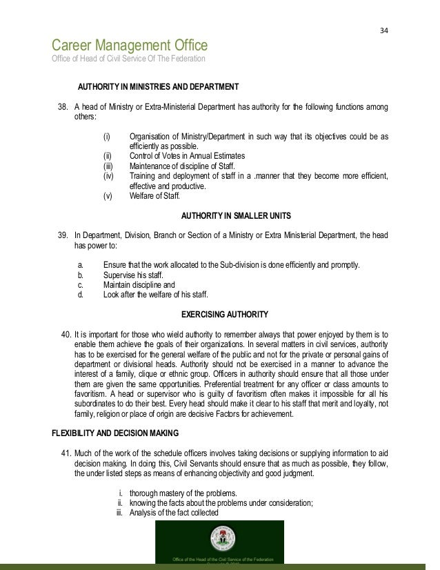 34 Career Management Office Office of Head of Civil Service Of The Federation AUTHORITY IN MINISTRIES AND DEPARTMENT 38. A...