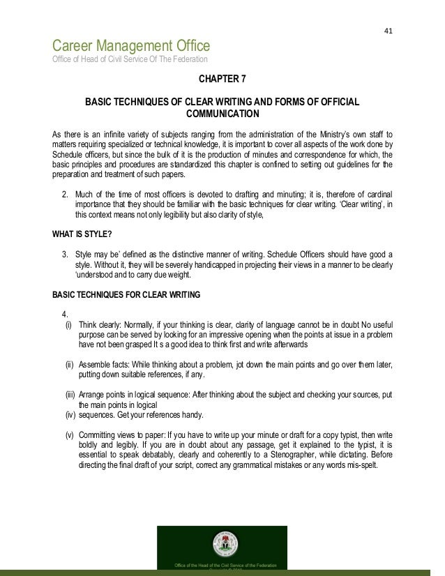 41 Career Management Office Office of Head of Civil Service Of The Federation CHAPTER 7 BASIC TECHNIQUES OF CLEAR WRITING ...