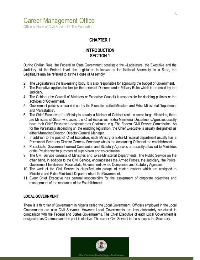 6 Career Management Office Office of Head of Civil Service Of The Federation CHAPTER 1 INTRODUCTION SECTION 1 During Civil...
