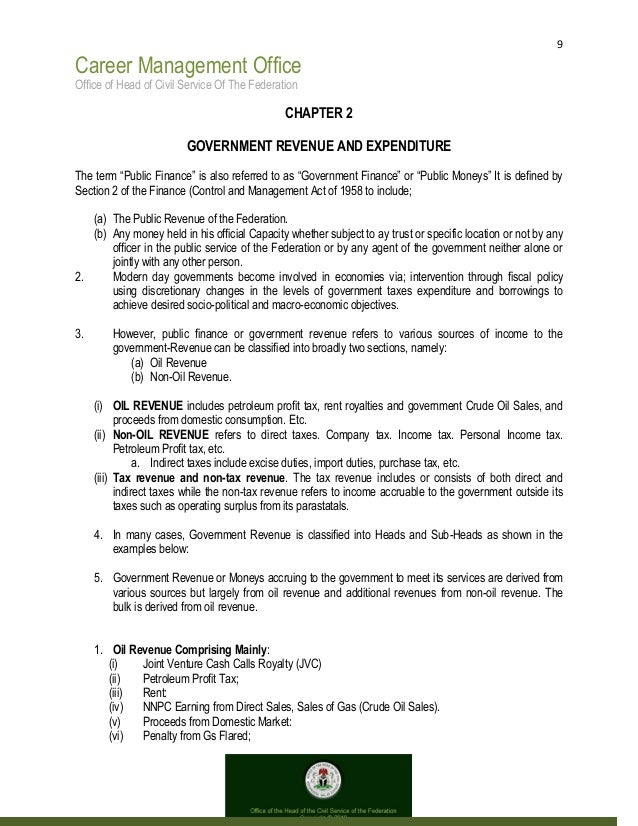 9 Career Management Office Office of Head of Civil Service Of The Federation CHAPTER 2 GOVERNMENT REVENUE AND EXPENDITURE ...