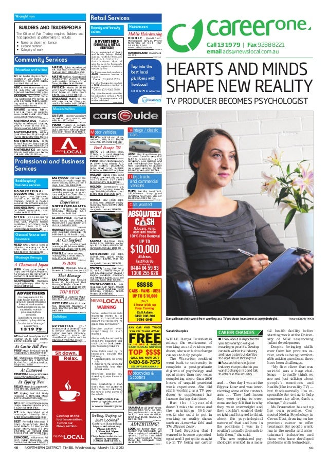 46 NORTHERN DISTRICT TIMES, Wednesday, March 13, 2013 MBHEARTS AND MINDSSHAPE NEW REALITYTV PRODUCER BECOMES PSYCHOLOGISTC...