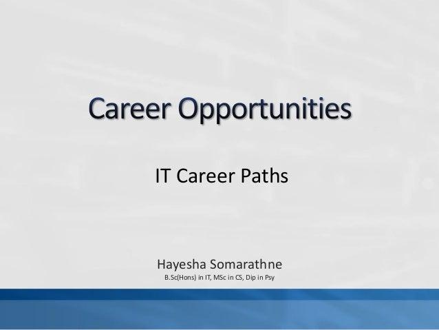 IT Career Paths  Hayesha Somarathne B.Sc(Hons) in IT, MSc in CS, Dip in Psy
