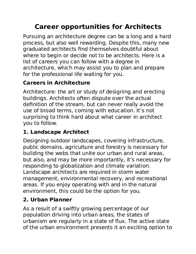 Career opportunities for architects