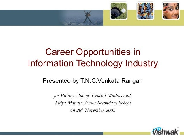 Career Opportunities inInformation Technology Industry   Presented by T.N.C.Venkata Rangan      for Rotary Club of Central...