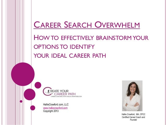 CAREER SEARCH OVERWHELM HOW TO EFFECTIVELY BRAINSTORM YOUR OPTIONS TO IDENTIFY YOUR IDEAL CAREER PATH  HallieCrawford.com,...
